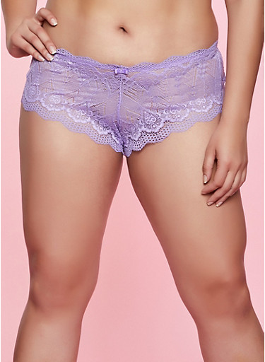 Plus Size Lace Keyhole Back Panty,PURPLE,large