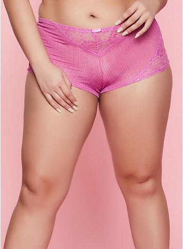 Plus Size Floral Lace Insert Boyshort Panty,PURPLE,large
