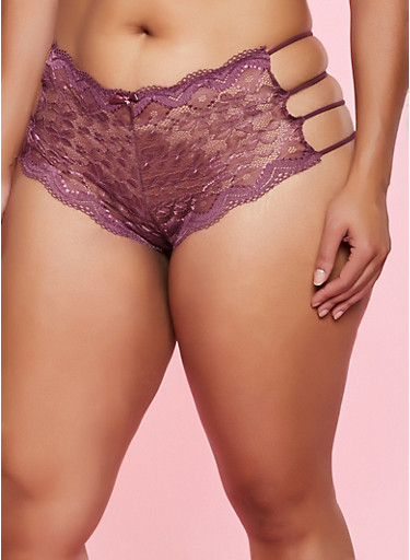 Plus Size Caged Side Boyshort Panty,BROWN,large