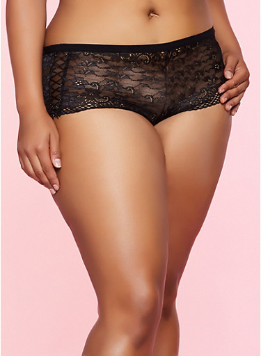 Plus Size Ribbon Lace Up Cheeky Boyshort Panty,BLACK,large