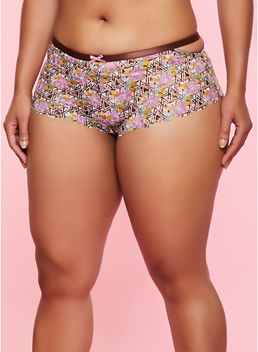 Plus Size Printed Lace Caged Side Boyshort Panty,BROWN,large