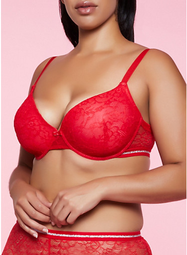 Plus Size Glitter Accent Lace Bra,RED,large