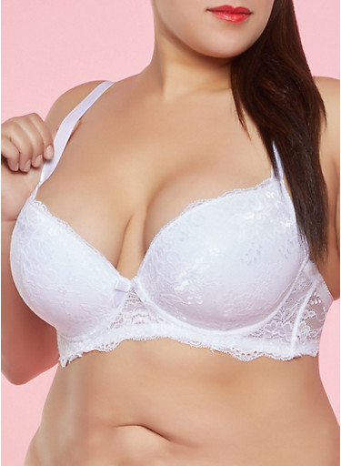 Plus Size White Lace Plunge Bra,WHITE,large