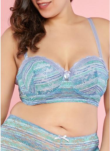 Plus Size Printed Lace Long Line Bra | Tuggl