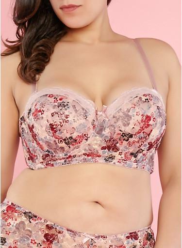 Plus Size Floral Lace Balconette Bra | Tuggl