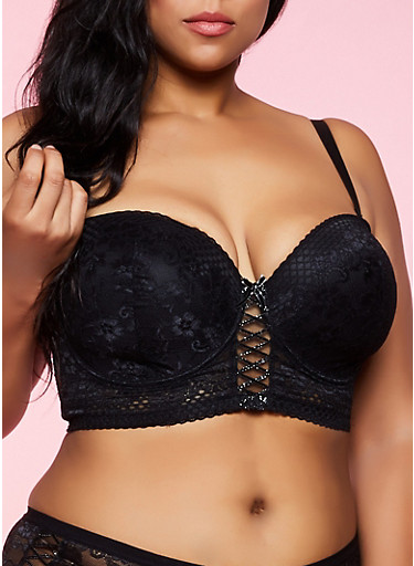 Plus Size Lurex Trim Longline Bra,BLACK,large
