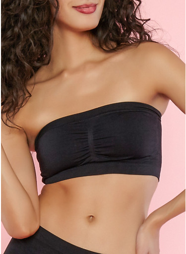 Stretch Bandeau Top,BLACK,large