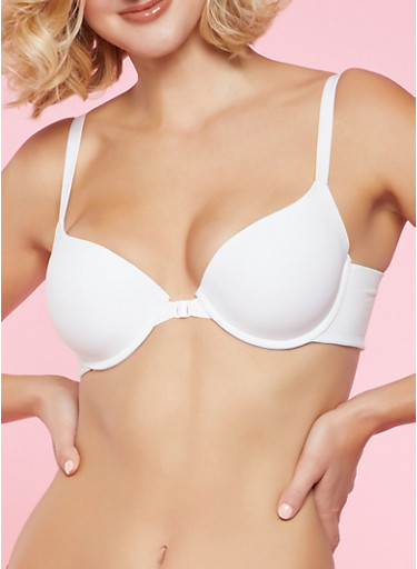 Front Closure Push Up Bra | White,WHITE,large