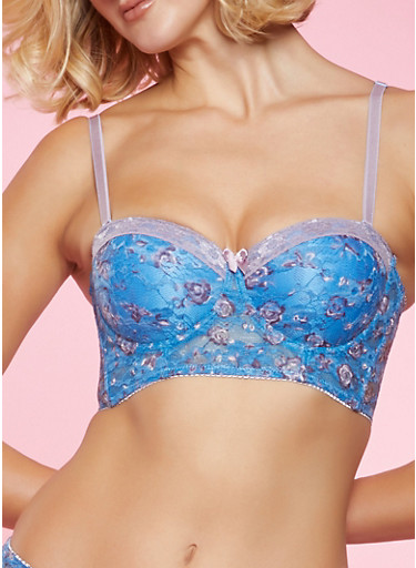 Printed Lace Long Line Bra | Converts to Strapless,BABY BLUE,large