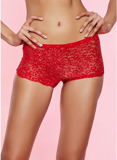 Rhinestone Studded Detail Boyshort Panty,RED,large