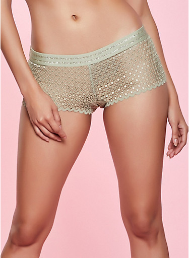 Lurex Trim Lace Boyshort Panty,OLIVE,large