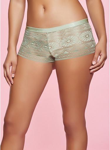 Solid Tassel Lace Up Boyshort Panty,OLIVE,large