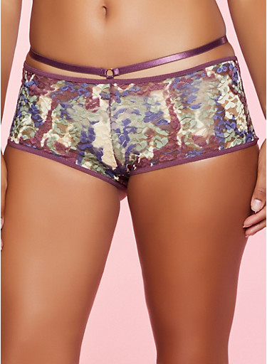 Printed Lace Contrast Trim Caged Boyshort Panty,GREEN,large