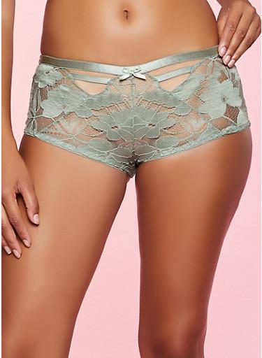 Caged Keyhole Lace Boyshort Panty | 1176068066096,OLIVE,large