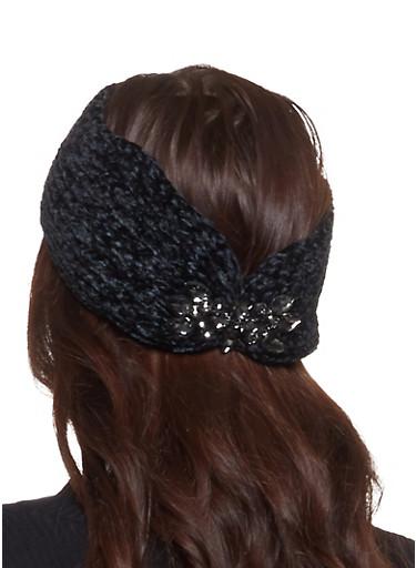 Chenille Rhinestone Detail Headwrap,BLACK,large