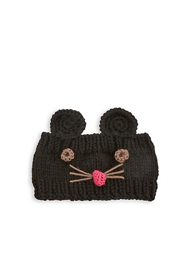 Mouse Knit Head Wrap,BLACK,large