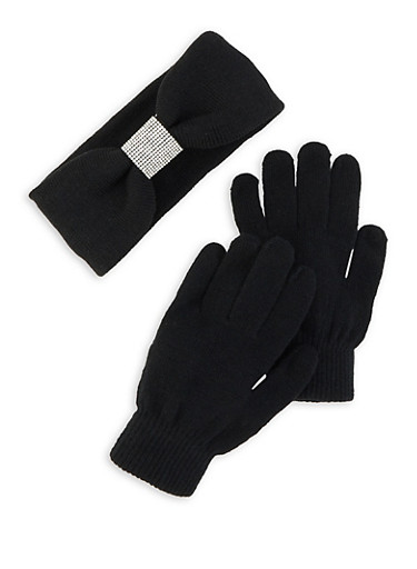 Rhinestone Headwrap and Gloves Set,BLACK,large