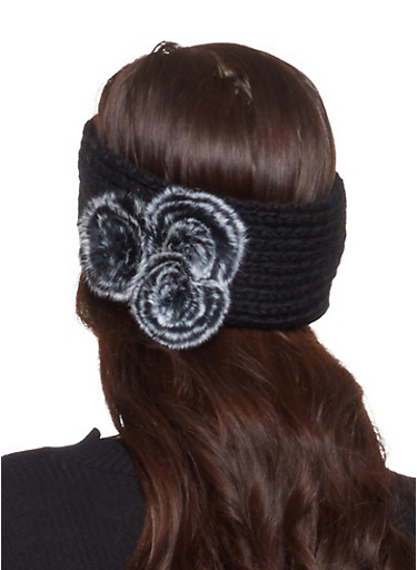 Knit Faux Fur Pom Pom Headwrap,BLACK,large