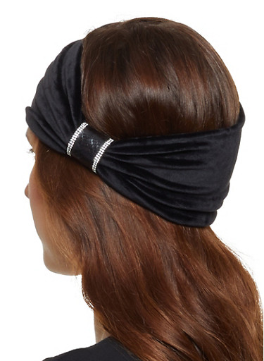 Velvet Rhinestone Head Wrap,BLACK,large