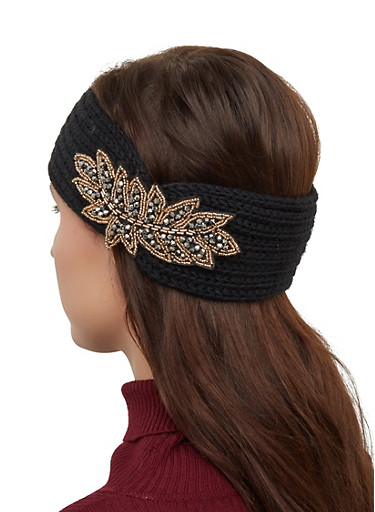 Beaded Patch Knit Head Wrap,BLACK,large