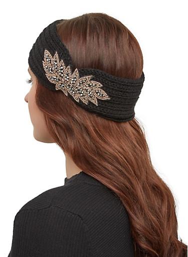 Beaded Detail Knit Headwrap,BLACK,large