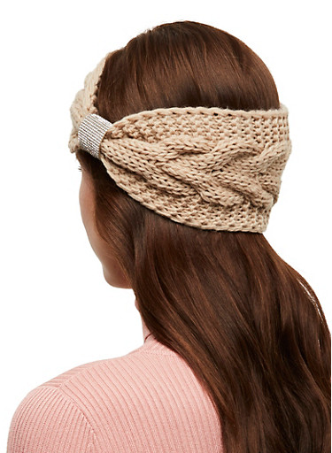 Rhinestone Detail Knitted Headwrap,NATURAL,large
