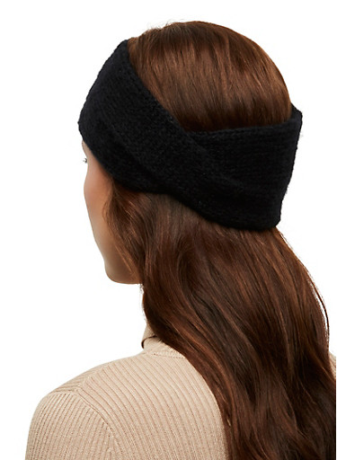 Lurex Knit Headwrap,BLACK,large
