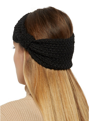 Knit Twisted Headwrap,BLACK,large