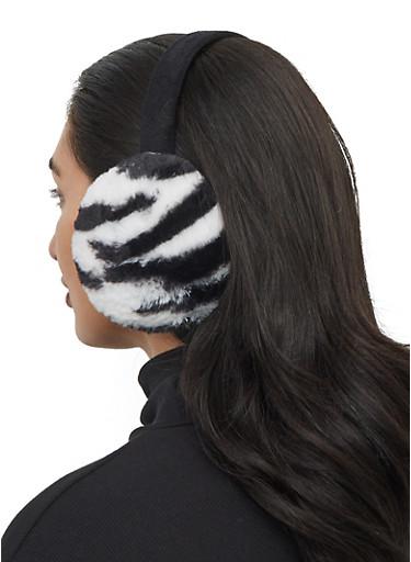 Faux Fur Printed Earmuffs,BLACK/WHITE,large