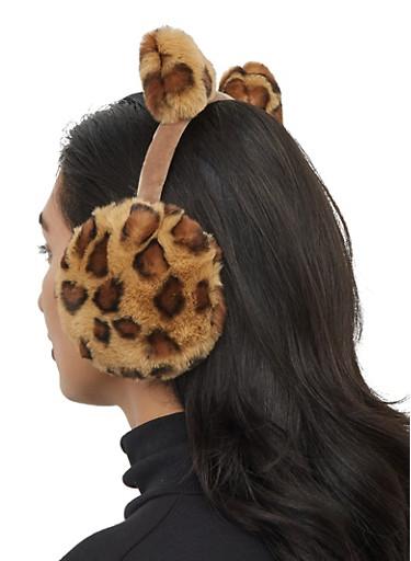 Leopard Faux Fur Earmuffs,BROWN,large