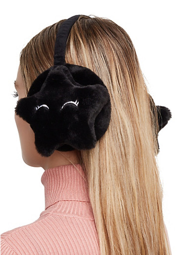Cloud Faux Fur Earmuffs,BLACK,large