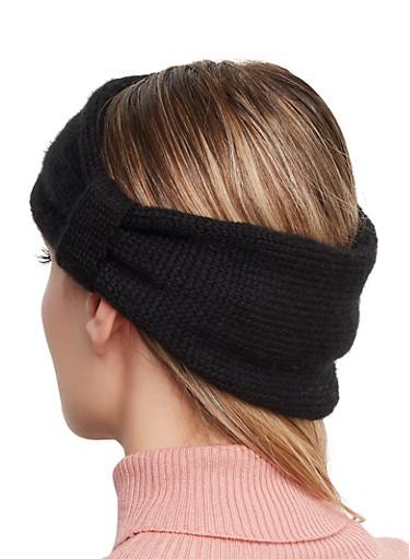Animal Print Reversible Head Wrap,BLACK,large