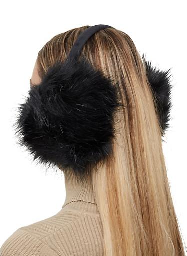 Faux Fur Earmuffs,BLACK,large