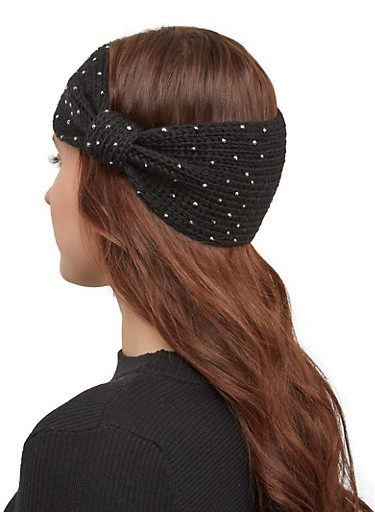 Studded Knit Headwrap,BLACK,large