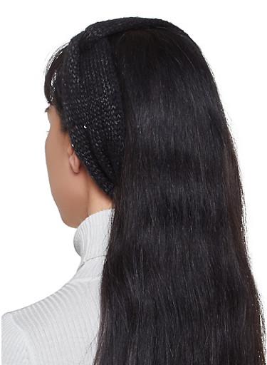 Sequin Knit Head Wrap,BLACK,large