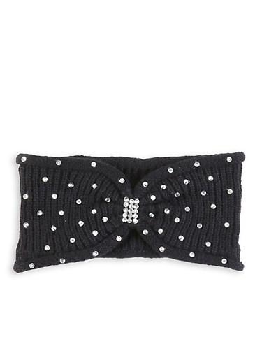 Rhinestone Knit Headwrap,BLACK,large
