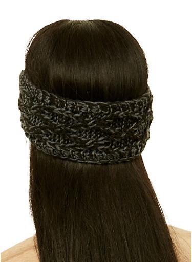 Two Tone Knit Head Wrap,BLACK,large
