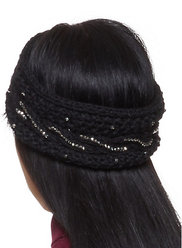 Studded Knit Headband,BLACK,large