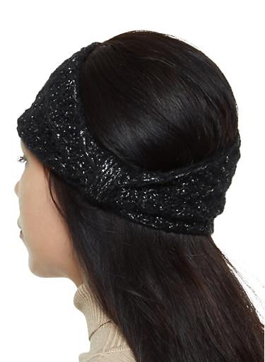 Lurex Knit Head Wrap,BLACK,large