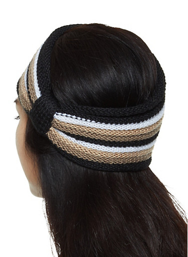 Striped Knit Head Wrap,BLACK,large