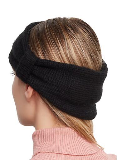 Faux Fur Reversible Head Wrap,BLACK,large