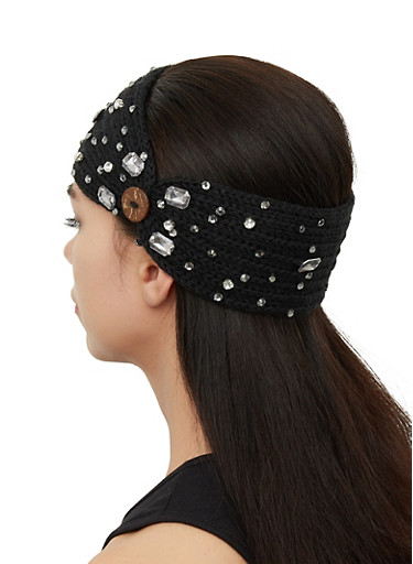 Bejeweled Knit Head Wrap,BLACK,large