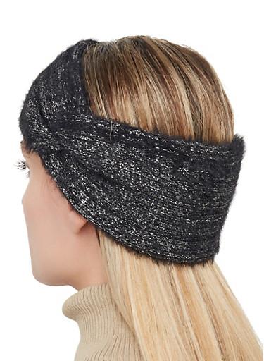 Knit Lurex Head Wrap,BLACK,large