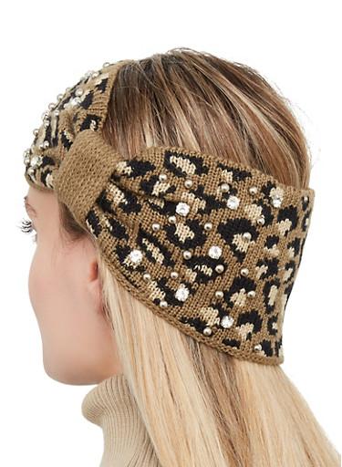 Studded Leopard Head Wrap,OLIVE,large