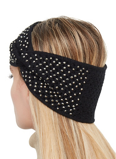 Studded Twist Front Head Wrap,BLACK,large