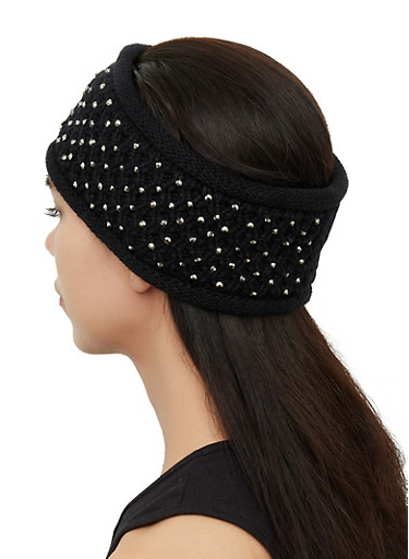 Studded Head Wrap,BLACK,large