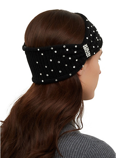 Rhinestone Studded Head Wrap,BLACK,large