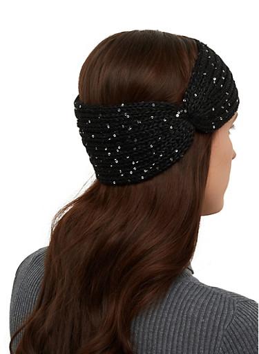 Knit Sequin Head Wrap,BLACK,large