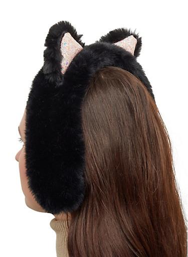 Glitter Ear Faux Fur Headband,BLACK,large