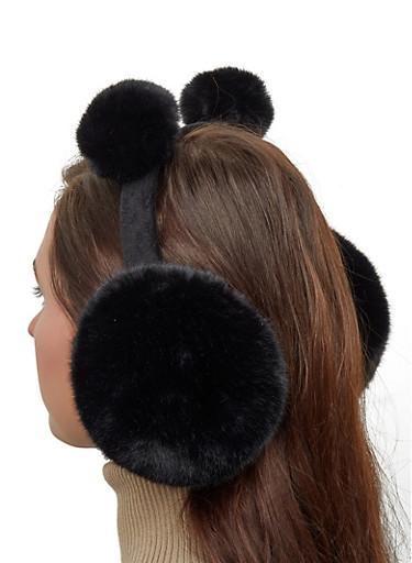Faux Fur Pom Pom Earmuffs,BLACK,large